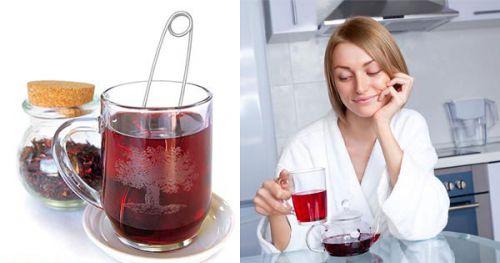 Женщина пьет чай каркаде