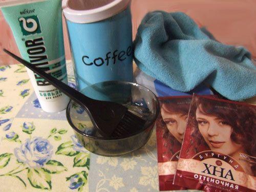 Покраска волос хной и кофе