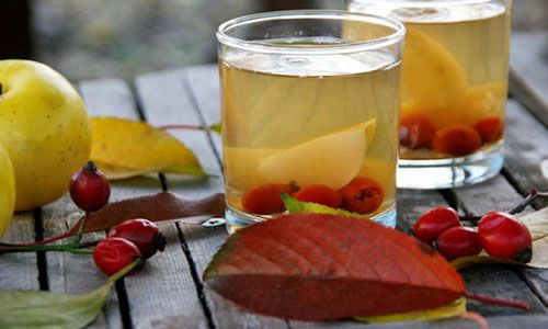 Чай с яблоками и шиповником