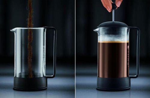 Этапы приготовления кофе во френч-прессе