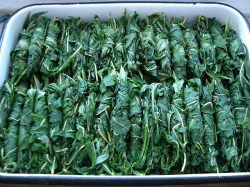 Листья киперя на противне перед ферментацией