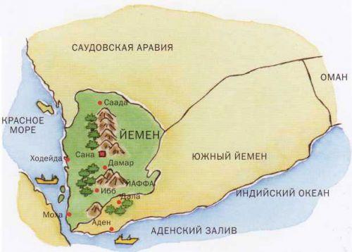 Плантации кофе в Йемене на карте