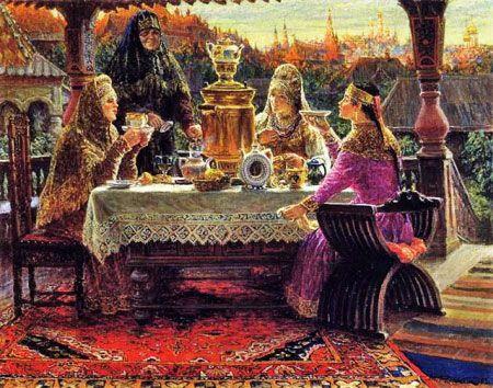 Картина с русским чаепитием