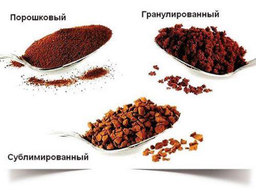 Порошковый, гранулированный и сублимированный кофе
