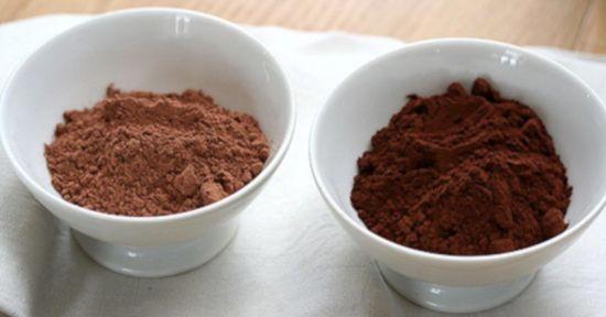 Натуральный и алкализованный порошок какао