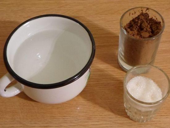 вода, какао и сахар