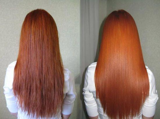 Волосы до и после применения масла какао