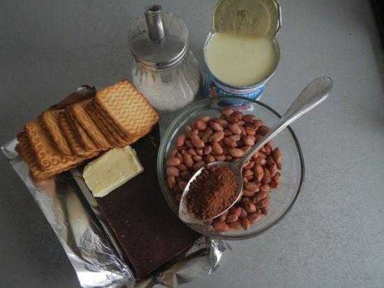 Печенье, арахис, какао, масло