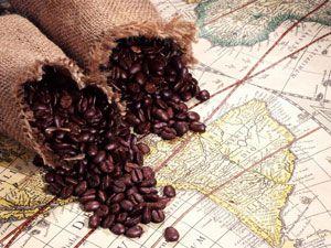 Кофейные зерна на географической карте